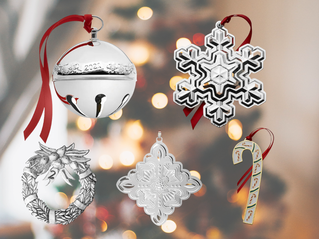 Silver Snowflake and Bell Ornaments, Wreaths and Candy Canes too